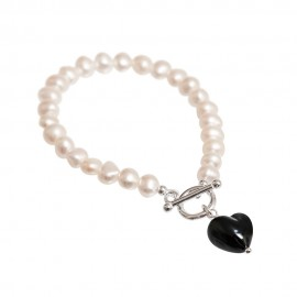 black Murano and pearl bracelet