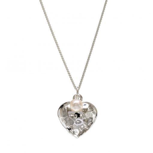 beaten silver heart pendant