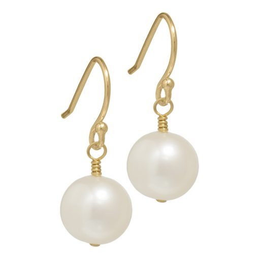 gold pearl drop earrings