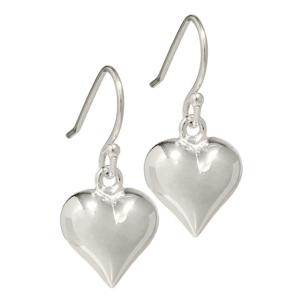 puffed silver heart earrings
