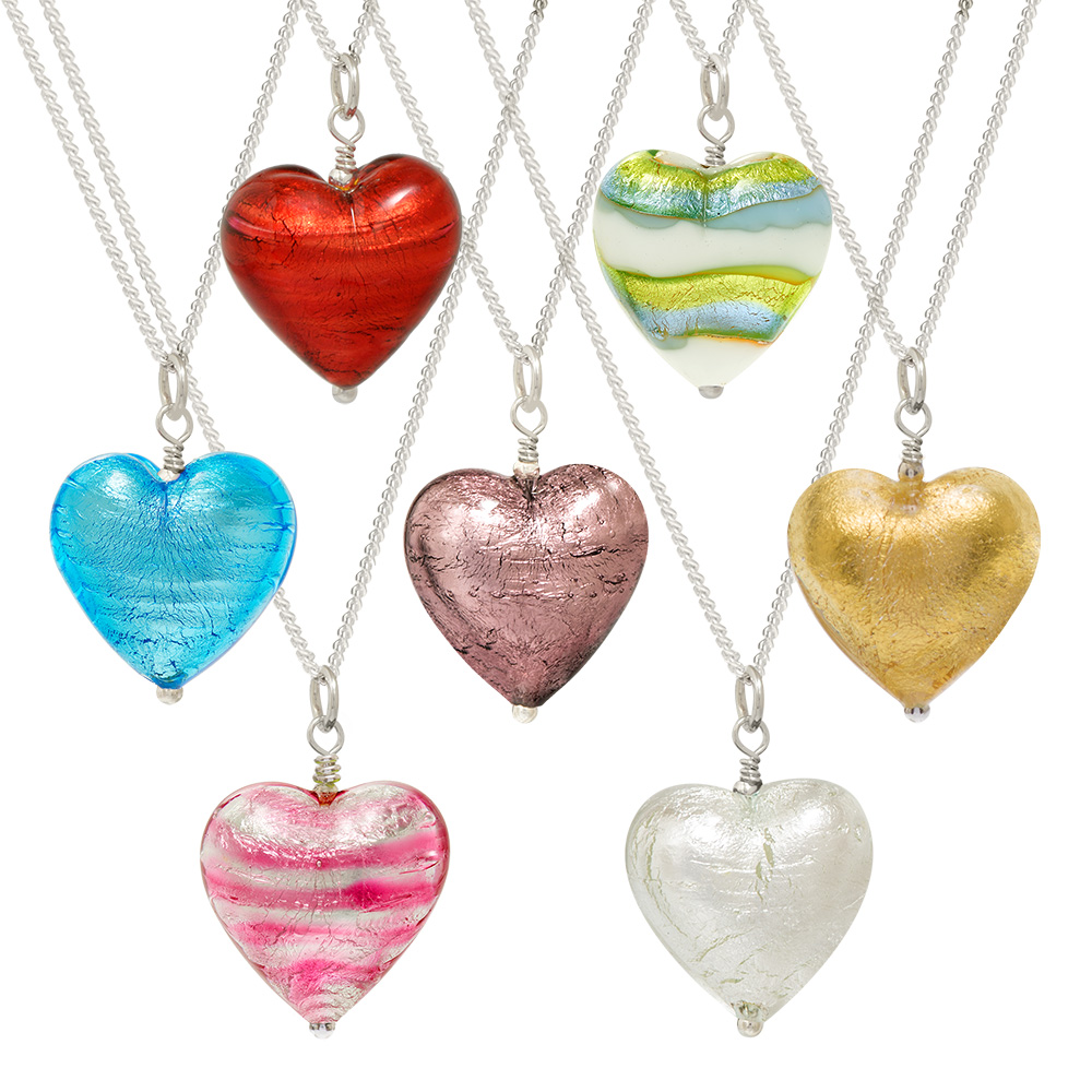 murano heart pendants handmade jewellery biba rose