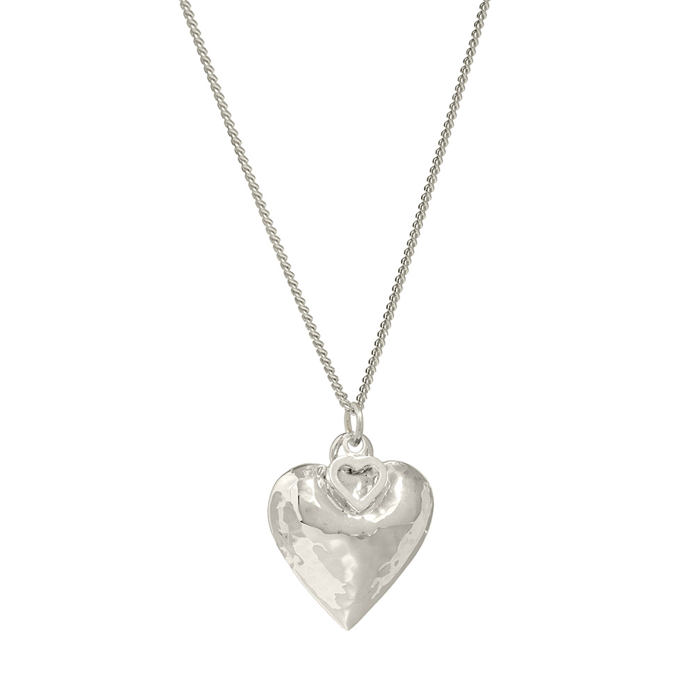 beaten silver heart pendant
