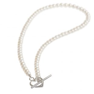 freshwater pearl necklace with a heart-shaped clasp