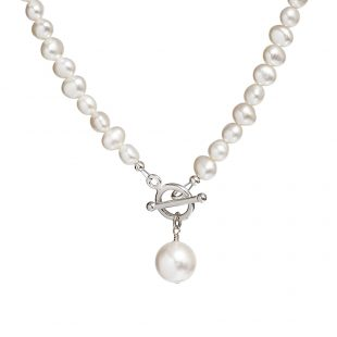 pearl necklace with white pearl drop