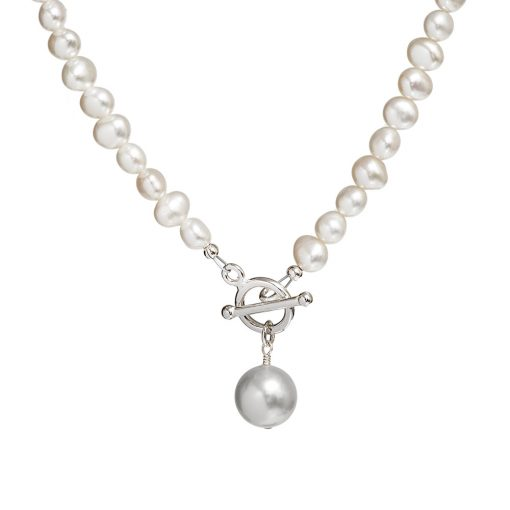 grey pearl drop necklace