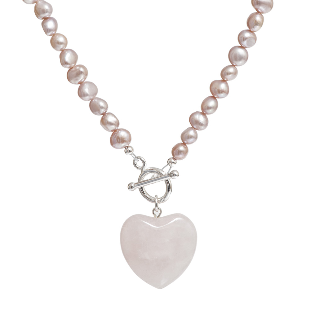pink rose quartz and pearl necklace