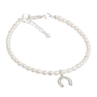 tiny pearl horseshoe bracelet