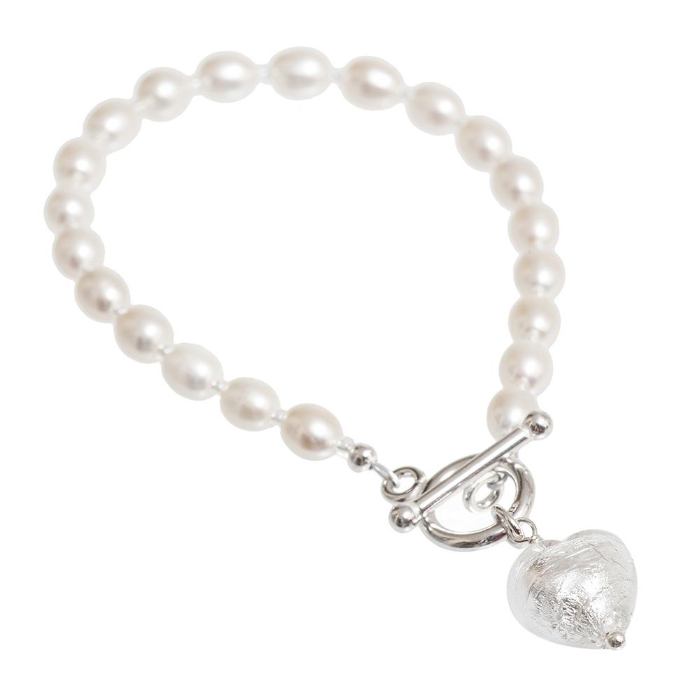 silver Murano Heart Pearl Bracelet