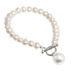 white pearl drop bracelet