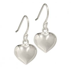 Plain silver heart earrings