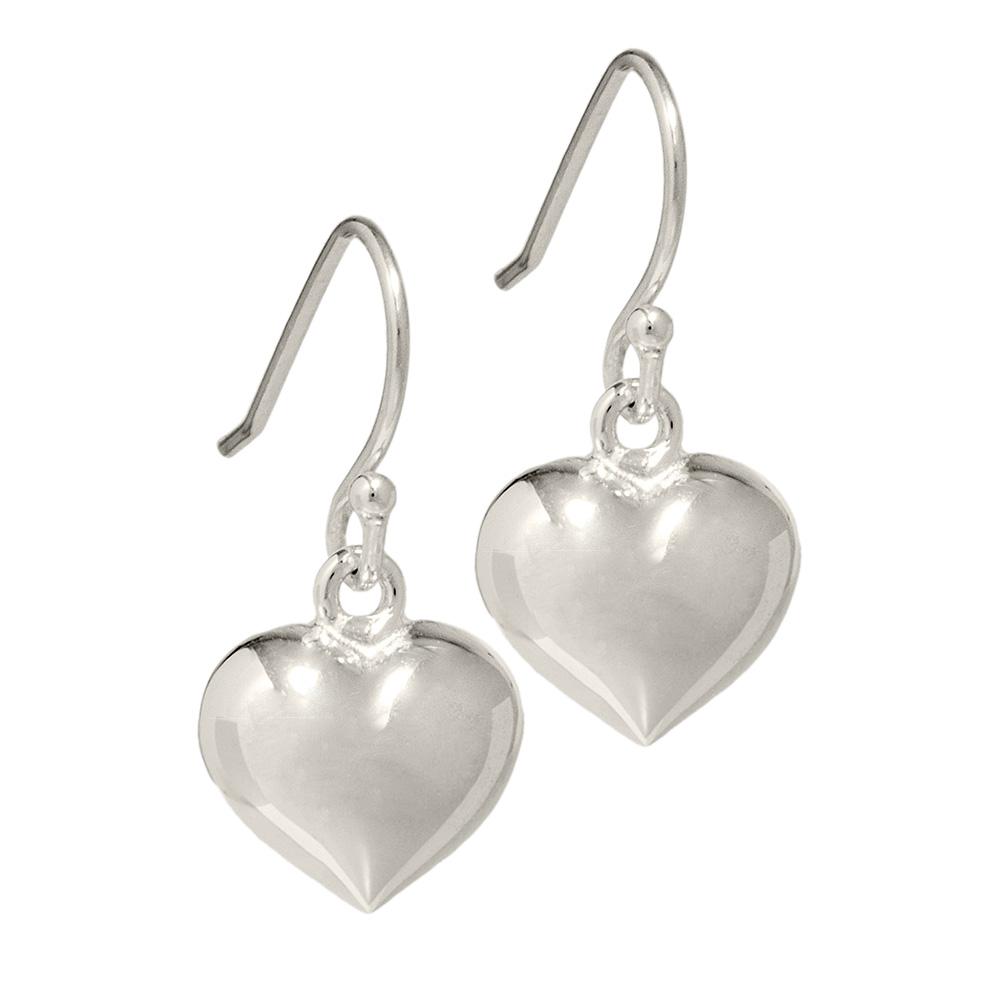 Plain silver heart earrings
