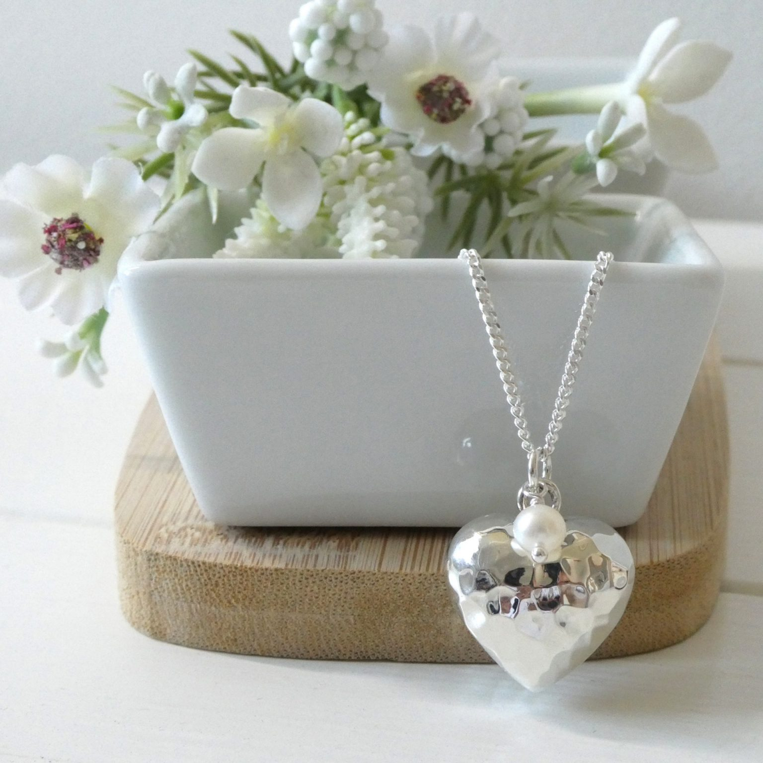 Silver and Pearl Heart Pendant