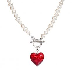 red Murano heart pearl necklace