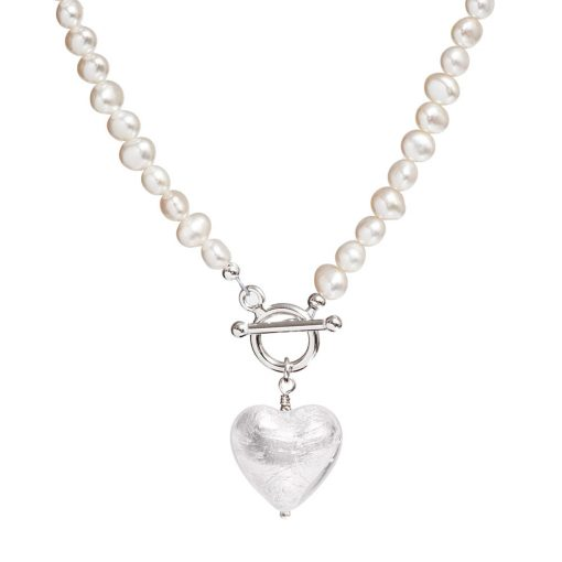 silver Murano pearl necklace