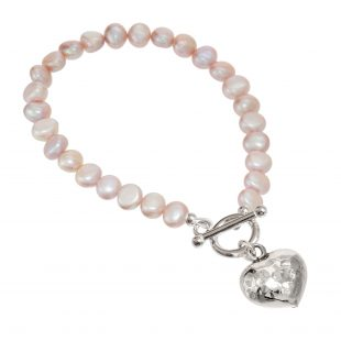 pink pearl bracelet with beaten silver heart