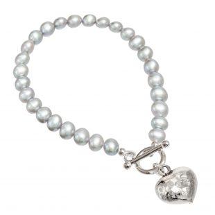grey pearl bracelet with beaten silver heart