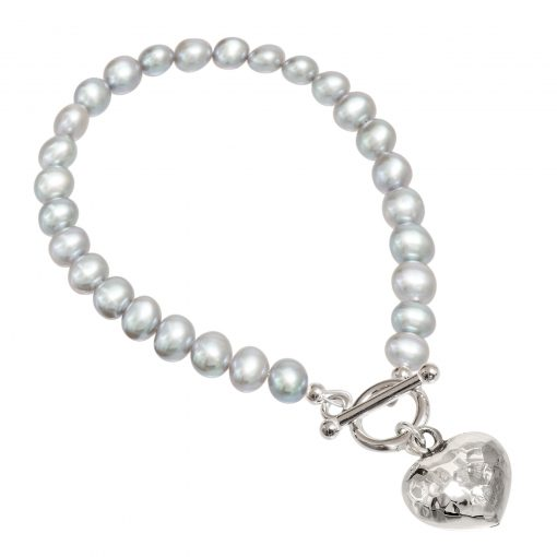 grey pearl bracelet with beaten silver heart