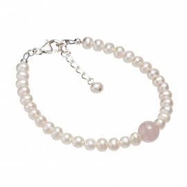 rose quartz and pearl bracelet