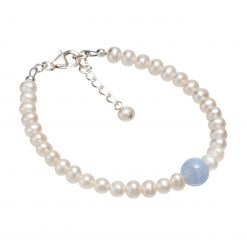 pearl and blue lace agate bracelet
