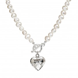 silver heart pearl necklace