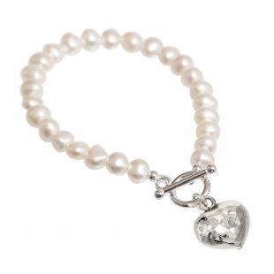 freshwater pearl bracelet with beaten silver heart