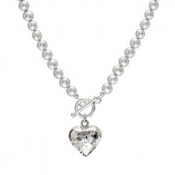 grey pearl necklace with silver heart