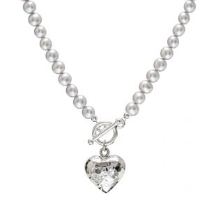 grey pearl necklace with beaten silver heart