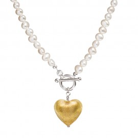 Gold Murano Heart pearl necklace