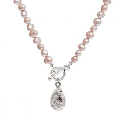 teardrop pink pearl necklace
