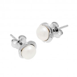 Silver Surround Pearl Stud Earrings