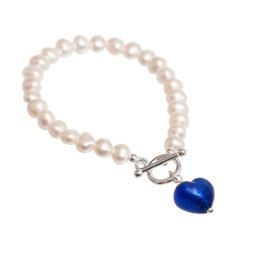 deep blue Murano and pearl bracelet