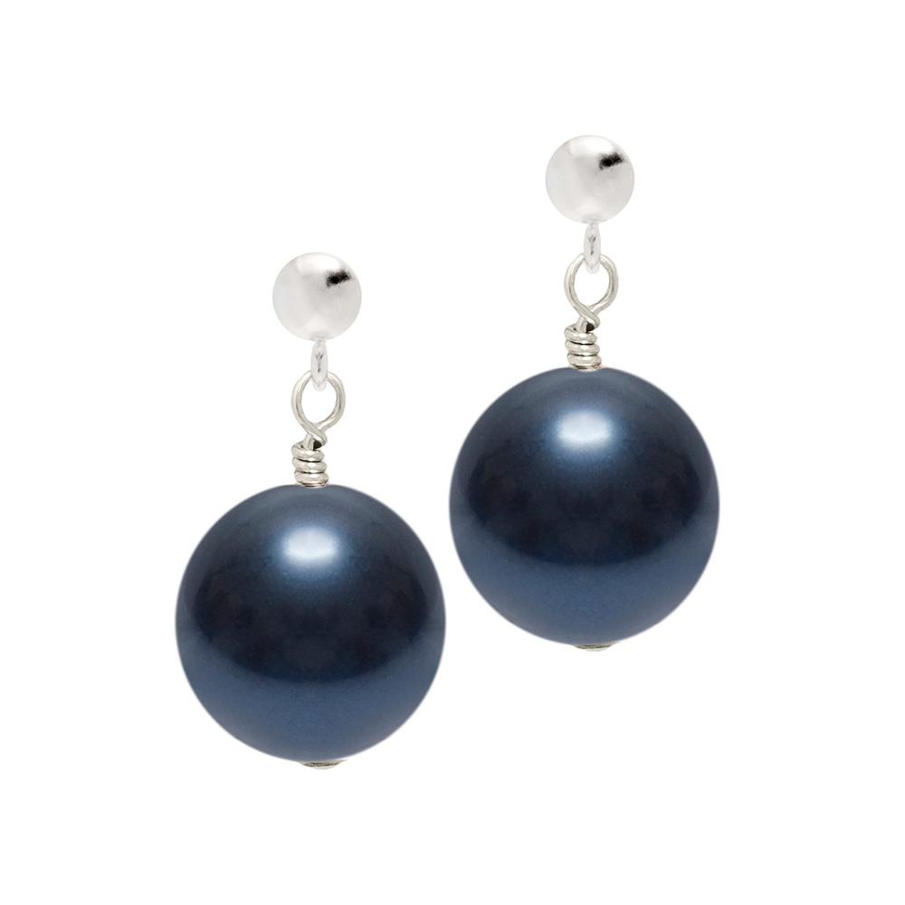 dark blue pearl earring