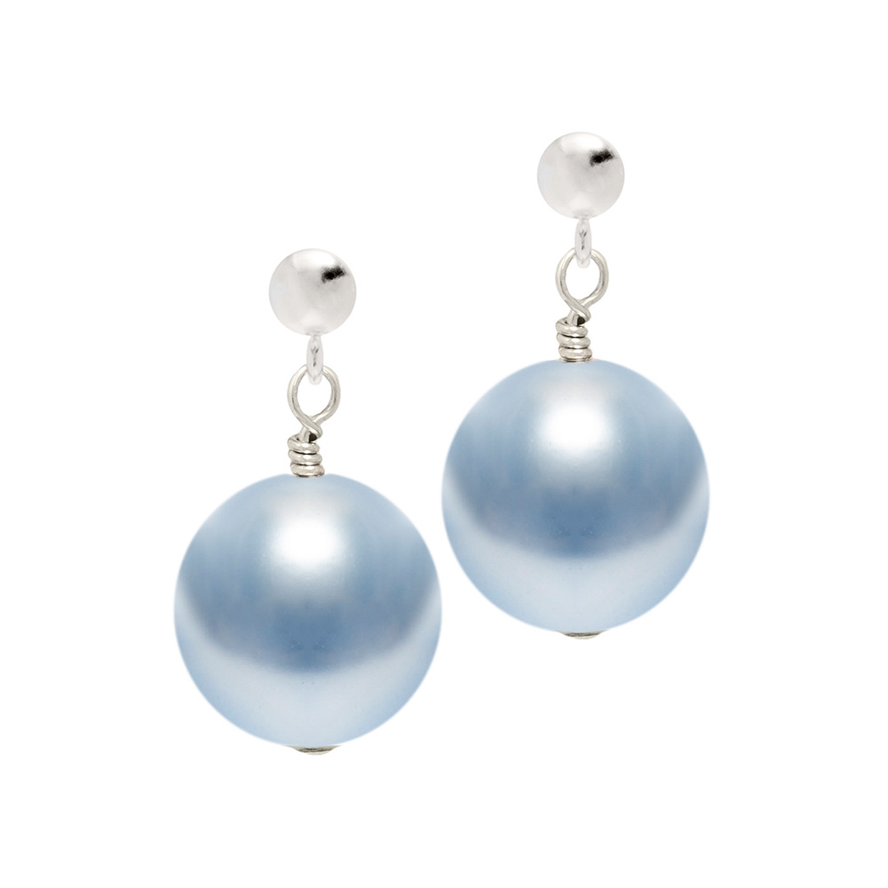 light blue pearl earring