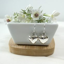 Beaten Silver Heart Earrings