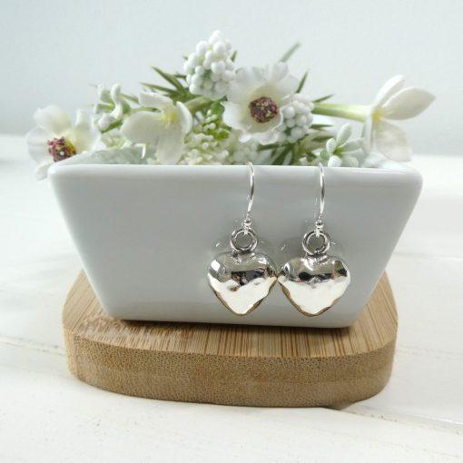 Beaten Silver Heart Earrings