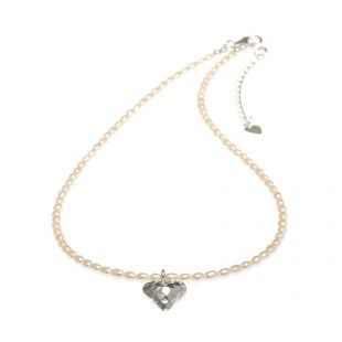 freshwater pearl heart necklace