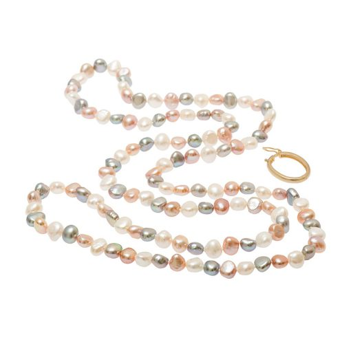 long pearl necklace with gold clasp