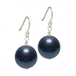 dark navy blue Swarovski pearl drop earrings