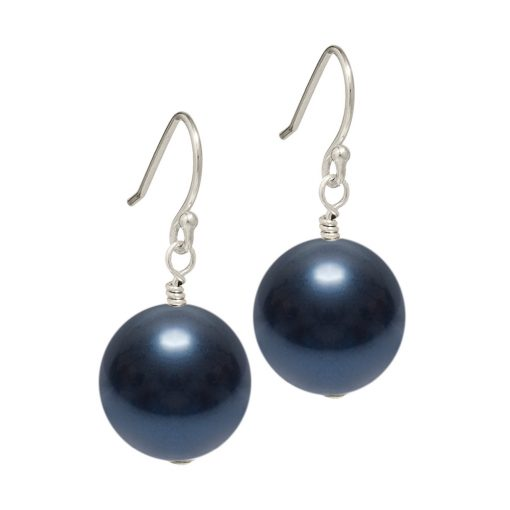 dark navy blue Swarovski pearl drop earrings