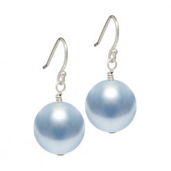 light blue Swarovski pearl drop earrings