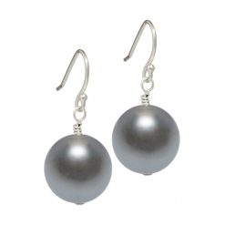 dark grey Swarovski pearl drop earrings