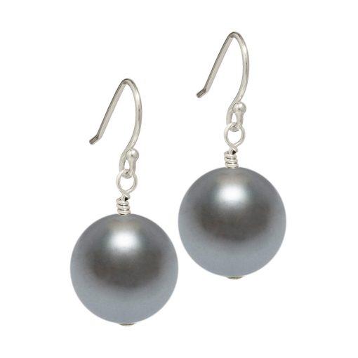 dark grey Swarovski pearl drop earrings