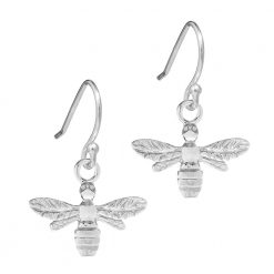 Silver Honey Bee Earrings