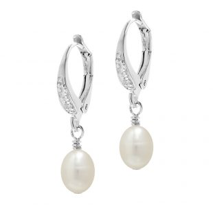 Pearl Lever Back Earrings