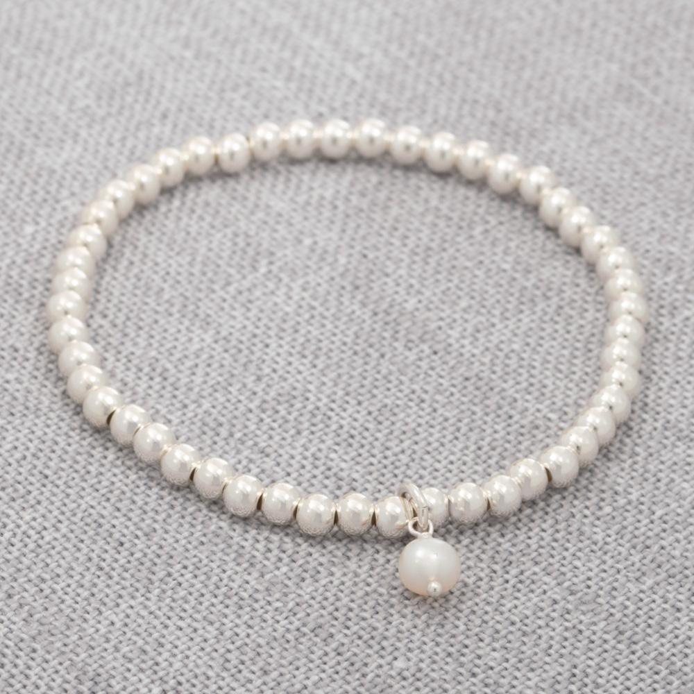 elastic silver beaded bracelet