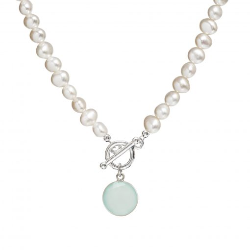pearl necklace with Chalcedony gemstone