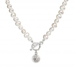 pearl necklace with silver charm