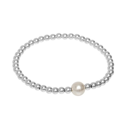 Silver and Pearl Stretch Bracelet