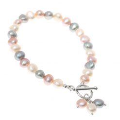 pink, grey and white pearl bracelet