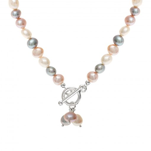 pink, grey and white pearl necklace